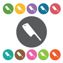 Cleaver icons set. Round colourful 12 buttons. Vector illustrati