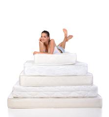 Woman and mattress