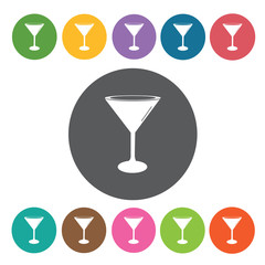 Martini glass icons set. Round colourful 12 buttons. Vector illu