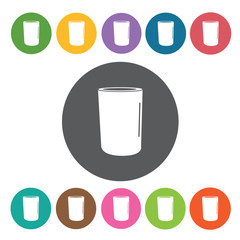 Drinking glass icons set. Round colourful 12 buttons. Vector ill