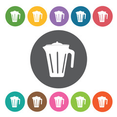 Pitcher icons set. Round colourful 12 buttons. Vector illustrati