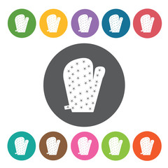 Oven mitten icons set. Round colourful 12 buttons. Vector illust
