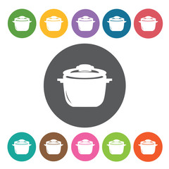 Cooking pot icons set. Round colourful 12 buttons. Vector illust
