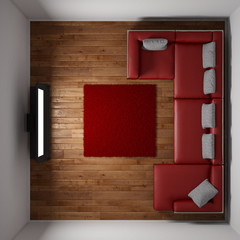 Top view of room with TV