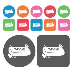 Soap icons set. Round colourful 12 buttons. Vector illustration