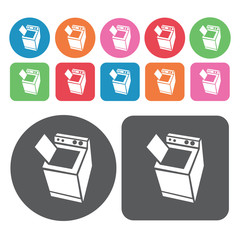 Washing machine icons set. Round colourful 12 buttons. Vector il