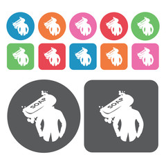 Clothes soap icons set. Round colourful 12 buttons. Vector illus