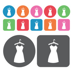 Hanging dress icons set. Round colourful 12 buttons. Vector illu