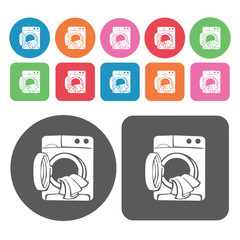 Washing machine with clothes icons set. Round colourful 12 butto