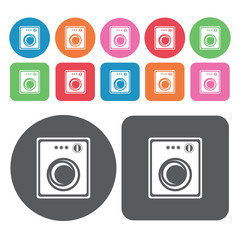 Spinning washing machine icons set. Round colourful 12 buttons.