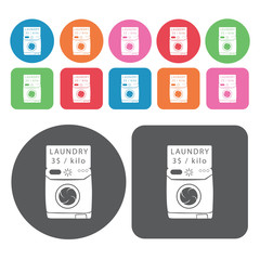 Detergent soap icons set. Round colourful 12 buttons. Vector ill