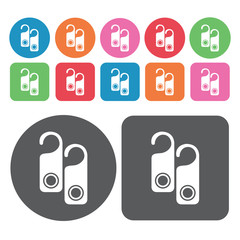 Clothes hook icons set. Round colourful 12 buttons. Vector illus