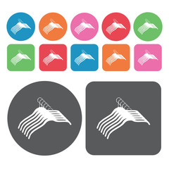 Hangers icons set. Round colourful 12 buttons. Vector illustrati