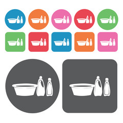 Basin, detergent and bleach icons set. Round colourful 12 button