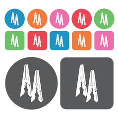 Clothes clip icons set. Round colourful 12 buttons. Vector illus