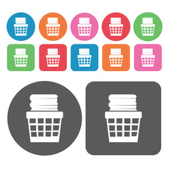 Pile of clothess set. Round colourful 12 buttons. Vector illustr