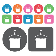 Hanging towel icons set. Round colourful 12 buttons. Vector illu