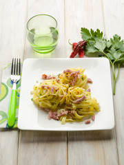 tagliatelle with bacon and hot chili pepper