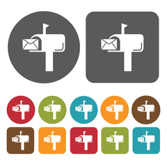 Mailbox icons set. Round and rectangle colourful 12 buttons. Vec