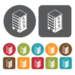 Building advertising icons set. Round and rectangle colourful 12