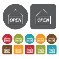 Open sign icons set. Round and rectangle colourful 12 buttons. V