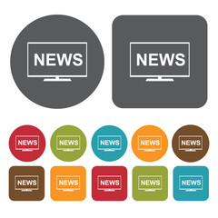 News on tv icons set. Round and rectangle colourful 12 buttons.