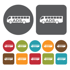 Ads on bus icons set. Round and rectangle colourful 12 buttons.