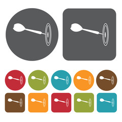 Dart icons set. Round and rectangle colourful 12 buttons. Vector