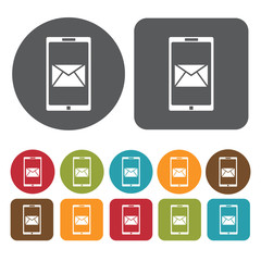 Inbox icons set. Round and rectangle colourful 12 buttons. Vecto