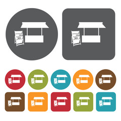 Newspaper stand icons set. Round and rectangle colourful 12 butt