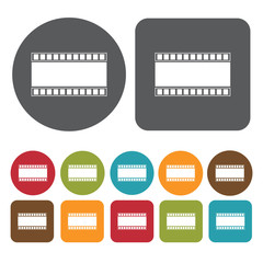 Film strip icons set. Round and rectangle colourful 12 buttons.