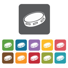 Tambourine icons set. Rectangle colourful 12 buttons. Vector ill