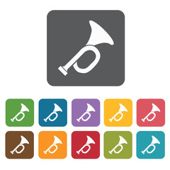 Trumpet icons set. Rectangle colourful 12 buttons. Vector illust