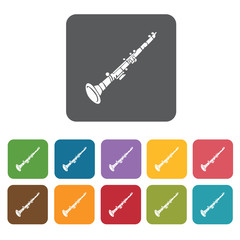 Clarinet icons set. Rectangle colourful 12 buttons. Vector illus