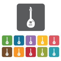 Mandolin icons set. Rectangle colourful 12 buttons. Vector illus
