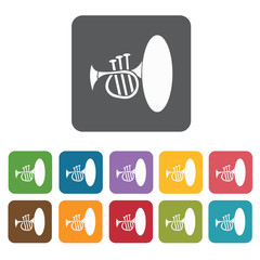 French horn icons set. Rectangle colourful 12 buttons. Vector il