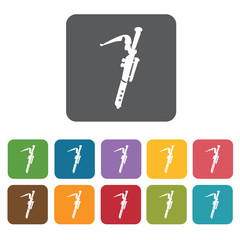 Flute icons set. Rectangle colourful 12 buttons. Vector illustra