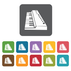 Piano organ icons set. Rectangle colourful 12 buttons. Vector il