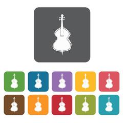 Cello icons set. Rectangle colourful 12 buttons. Vector illustra