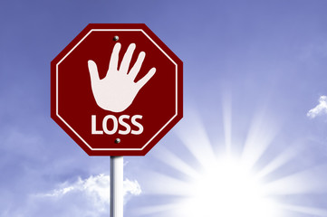 Stop Loss red sign with sun background