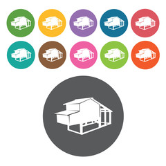 Chicken coop icons set. Round colourful 12 buttons. Vector illus