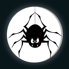 Funny freaky spider - a spider is snarling (full moon)