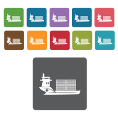 Cargo container ship icons set. Rectangle colourful 12 buttons.