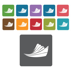 Navy boat icons set. Rectangle colourful 12 buttons. Vector illu