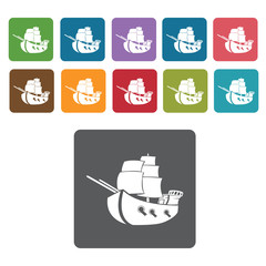 Galleon ship icons set. Rectangle colourful 12 buttons. Vector i