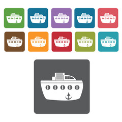 Ferry boat icons set. Rectangle colourful 12 buttons. Vector ill