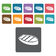 Wooden boat icons set. Rectangle colourful 12 buttons. Vector il