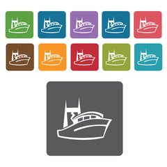 Small yacht icons set. Rectangle colourful 12 buttons. Vector il