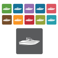 Speedboat icons set. Rectangle colourful 12 buttons. Vector illu