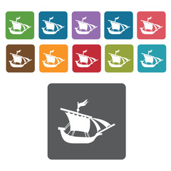 Galleon icons set. Rectangle colourful 12 buttons. Vector illust